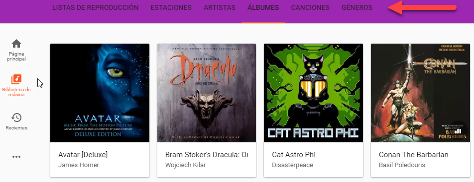 biblioteca de musica google play music