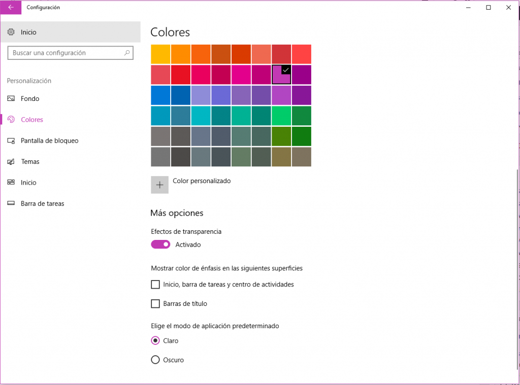 como deasctivar fluent design windows 10