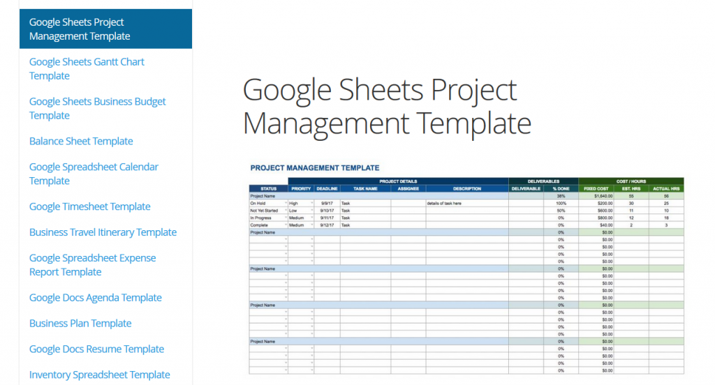 Template Excel Google