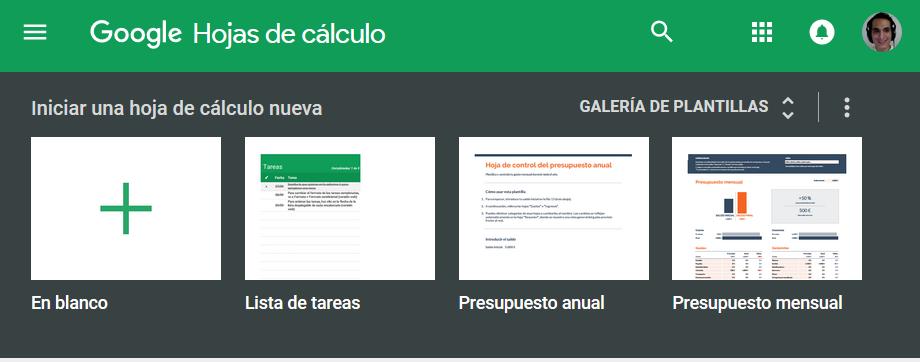 Templates o plantillas hojas de cálculo google docs