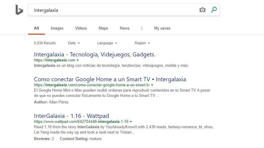 Buscador de Bing