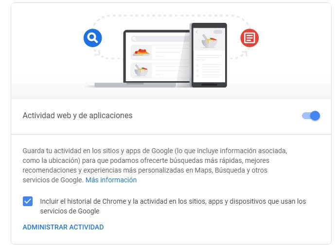 Controles de actividad google