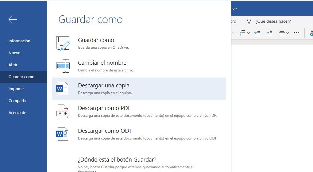 Guardar archivos de word online en la pc