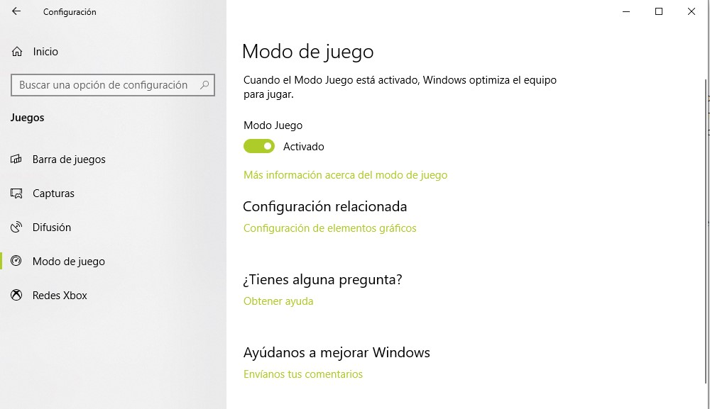 Activar modo gamer windows 10