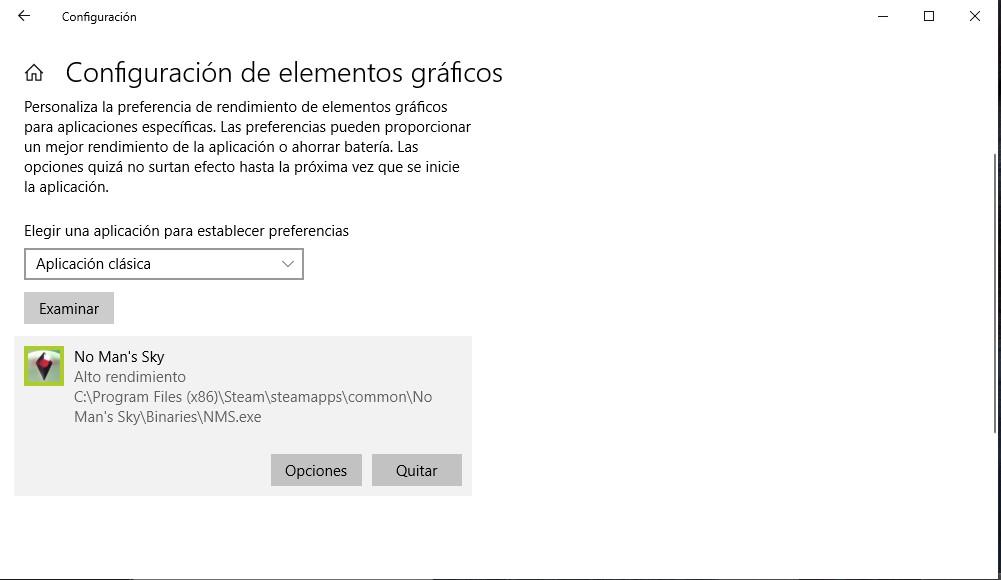 Configuración gráfica de windows 10